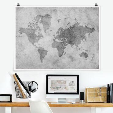Poster - Vintage Mappa del mondo II - Orizzontale 3:4