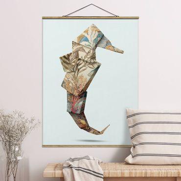 Foto su tessuto da parete con bastone - origami Seahorse - Verticale 4:3