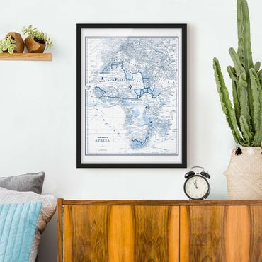 Poster con cornice - Mappa In Toni Di Blu - Africa - Verticale 4:3