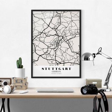 Poster con cornice - Stuttgart City Map - Classic - Verticale 4:3