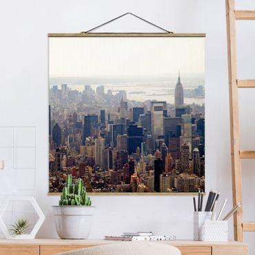 Foto su tessuto da parete con bastone - Mattina In New York - Quadrato 1:1