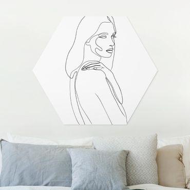 Esagono in forex - Spalla di Line Art Woman Bianco e nero