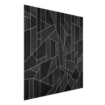 Stampa su Forex - Bianco e nero geometrico Acquarello - Quadrato 1:1