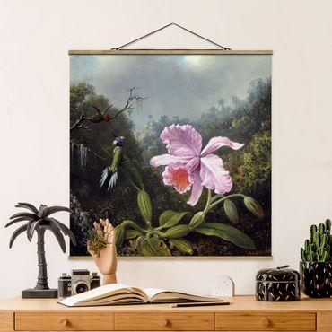 Foto su tessuto da parete con bastone - Martin Johnson Heade - Natura morta con orchidee e due colibrì - Quadrato 1:1