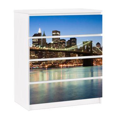 Carta adesiva per mobili IKEA - Malm Cassettiera 4xCassetti - Brooklyn Bridge in New York