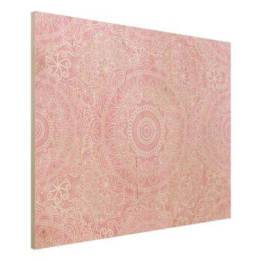 Stampa su legno - Mandala modello rosa - Orizzontale 3:4