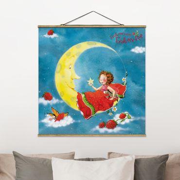 Foto su tessuto da parete con bastone - Strawberry Coniglio Erdbeerfee - Sweet Dreams - Quadrato 1:1