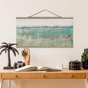 Foto su tessuto da parete con bastone - Orizzonte Turchese I - Orizzontale 1:2