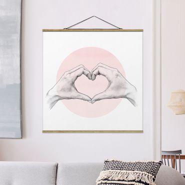 Foto su tessuto da parete con bastone - Laura Graves - Illustrazione Cuore cerchio mani Rosa Bianco - Quadrato 1:1