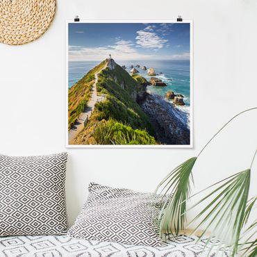 Poster - Nugget Point Lighthouse e Sea Zelanda - Quadrato 1:1