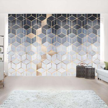 Tende scorrevoli set - Elisabeth Fredriksson - Bianco d'oro Geometria Blu - 6 Pannelli