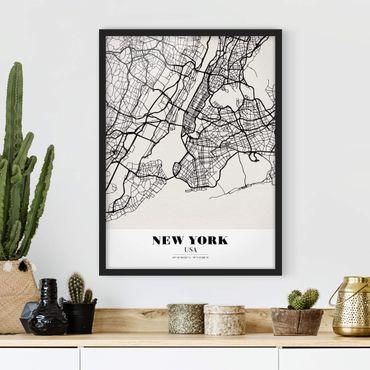 Poster con cornice - New York City Map - Classic - Verticale 4:3