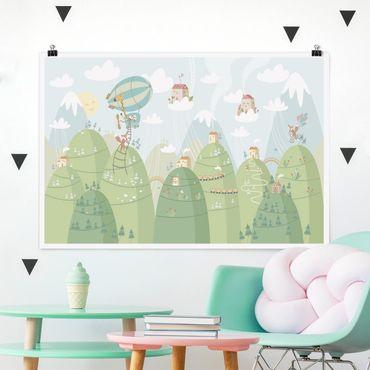 Poster - Foresta con case e animali - Orizzontale 2:3