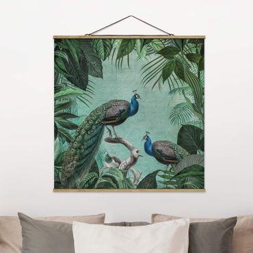 Foto su tessuto da parete con bastone - Shabby Chic Collage - Noble Peacock - Quadrato 1:1