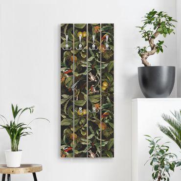 Appendiabiti in legno - Uccelli con ananas verde - Ganci cromati - Verticale