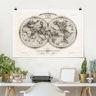 Poster - Mappa del mondo - Mappa francese del Cap del 1848 - Orizzontale 2:3