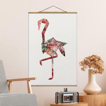 Foto su tessuto da parete con bastone - origami Flamingo - Verticale 3:2