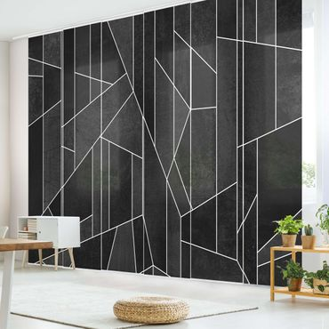 Tende scorrevoli set - Elisabeth Fredriksson - Bianco e nero geometrico Acquarello - 6 Pannelli
