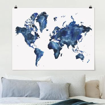 Poster - Water World Map Luce - Orizzontale 3:4