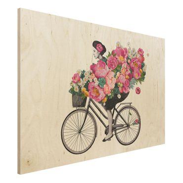 Stampa su legno - Illustrazione Donna in bicicletta Collage fiori variopinti - Orizzontale 2:3