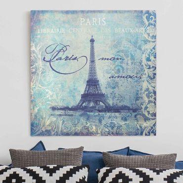 Stampa su tela - Vintage Collage - Paris Mon Amour - Quadrato 1:1