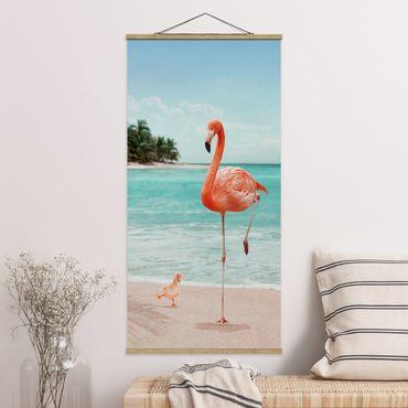 Foto su tessuto da parete con bastone - Spiaggia Con Flamingo - Verticale 2:1