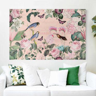 Stampa su tela - Vintage Collage - rose e uccelli - Orizzontale 2:3
