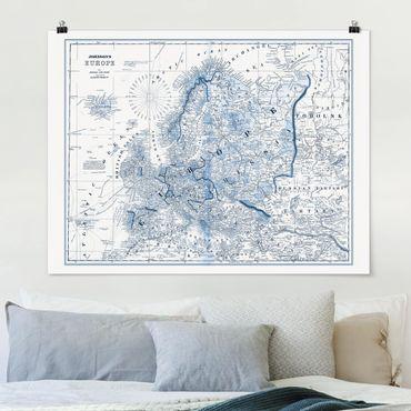Poster - Mappa nei toni blu - Europa - Orizzontale 3:4
