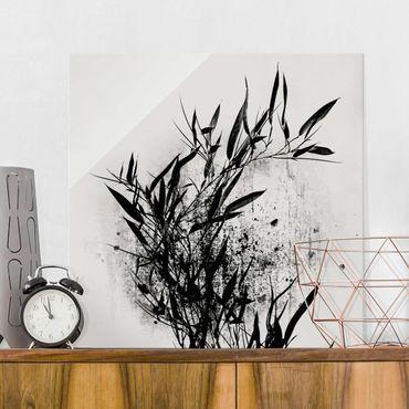 Quadro in vetro - Mondo vegetale grafico - Bambú nero - Quadrato 1:1