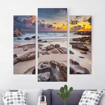 Stampa su tela 3 parti - Sunrise Beach In Thailand - Trittico da galleria