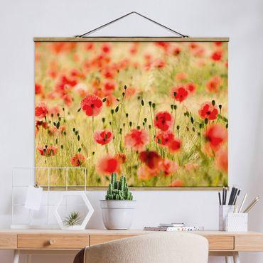 Foto su tessuto da parete con bastone - estate Papaveri - Orizzontale 3:4