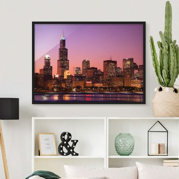 Poster con cornice - Chicago Skyline - Orizzontale 3:4
