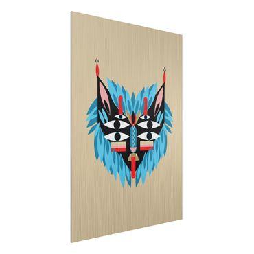 Stampa su alluminio spazzolato - Collage Mask Ethnic - Lion - Verticale 4:3