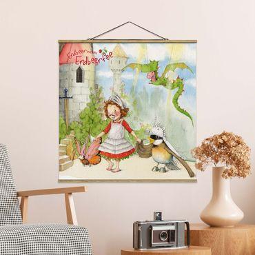Foto su tessuto da parete con bastone - Strawberry Coniglio Erdbeerfee - Drammatico - Quadrato 1:1
