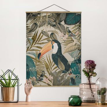 Foto su tessuto da parete con bastone - Vintage Collage - Toucan In The Jungle - Verticale 4:3