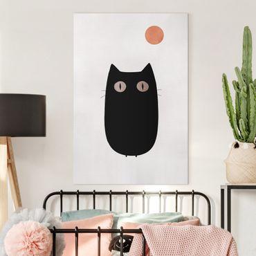 Stampa su tela - Illustrazione di gatto nero - Verticale 3:2