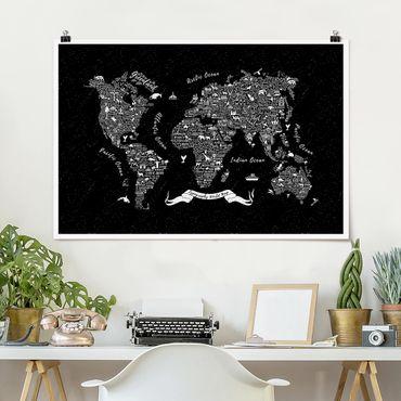 Poster - Tipografia Mappa del mondo nero - Orizzontale 2:3