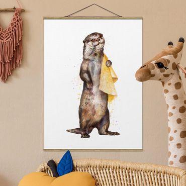 Foto su tessuto da parete con bastone - Laura Graves - Illustrazione Lontra con il tovagliolo bianco Pittura - Verticale 4:3