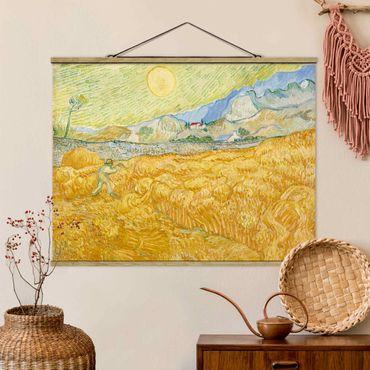 Foto su tessuto da parete con bastone - Vincent Van Gogh - Campo di grano con Reaper - Orizzontale 3:4