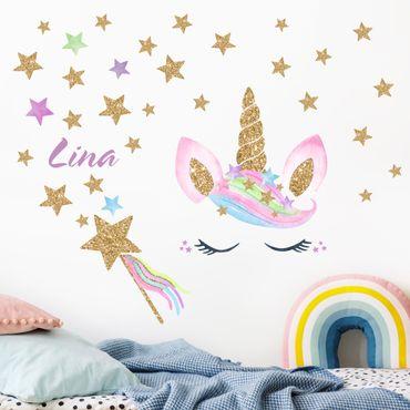 Adesivo murale - Acquerello Unicorn Gold Glitter Stars