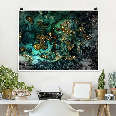 Poster - Oro Isole del Mar astratta - Orizzontale 3:4