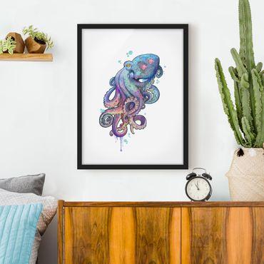 Poster con cornice - Illustrazione Octopus Viola Turchese Pittura - Verticale 4:3