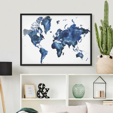 Poster con cornice - Water World Map Light - Orizzontale 3:4