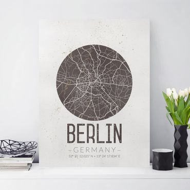 Stampa su tela - Berlin City Map - Retro - Verticale 3:4
