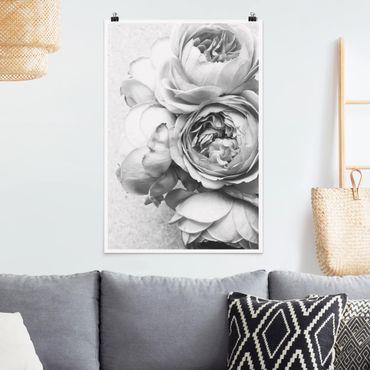 Poster - Peony fiori bianchi e nero - Verticale 3:2