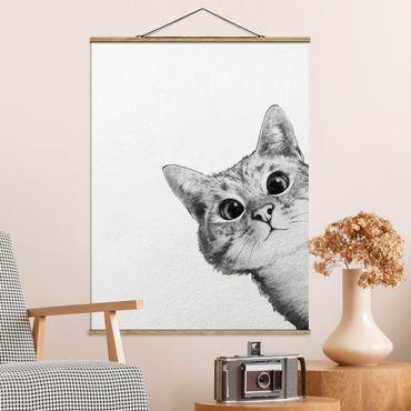 Foto su tessuto da parete con bastone - Laura Graves - Illustrazione Cat Disegno Nero Bianco - Verticale 4:3