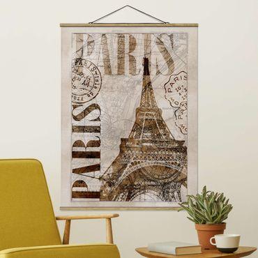 Foto su tessuto da parete con bastone - Shabby Chic Collage - Parigi - Verticale 4:3