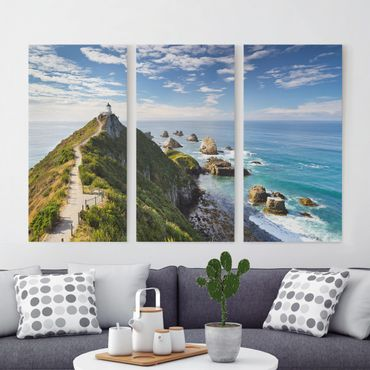 Stampa su tela 3 parti - Nugget Point Lighthouse And New Zealand - Verticale 2:1