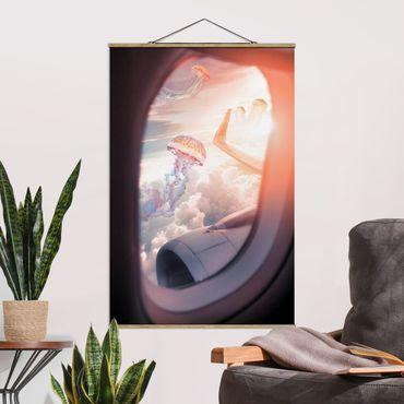 Foto su tessuto da parete con bastone - Aereo con le meduse - Verticale 3:2