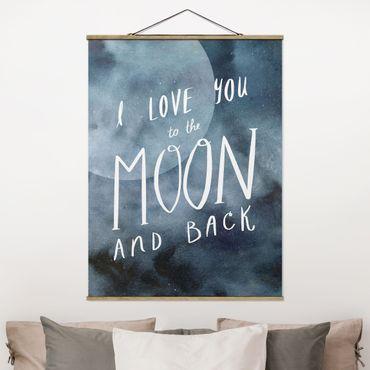 Foto su tessuto da parete con bastone - Amore celeste - Luna - Verticale 4:3